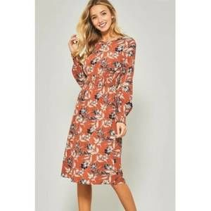 nwot | Promesa USA Burnt Orange Floral Midi Dress
